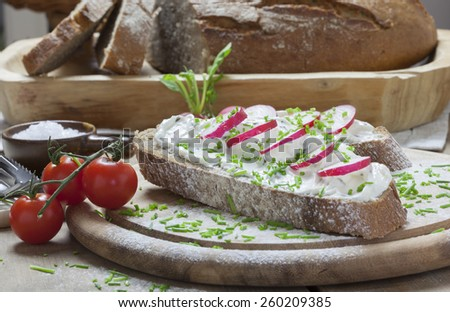 German Bread with cream cheese and radishes - stock photo