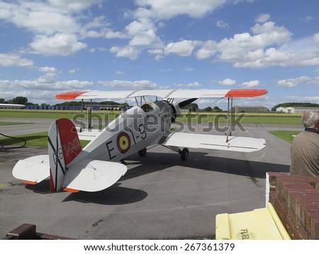 German Bucker 1930s biplane  at Breighton airfield,Yorkshire,UK.taken 14/07/2013 - stock photo