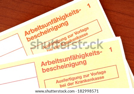 German certificate of incapacity for work - stock photo