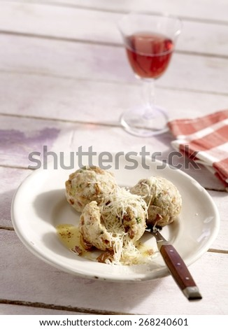 German Chanterelle Mushroom Dumplings with Alpine Cheese - stock photo
