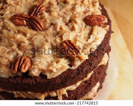 German chocolate cake, homemade bakery - stock photo