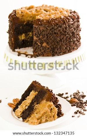 German chocolate cake with two layers of chocolate cake filled and topped with classic German chocolate filling (a caramel-goo of coconut and pecans), covered in chocolate buttercream.