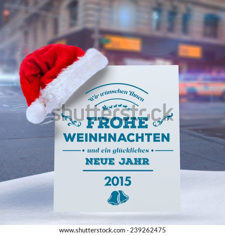 German christmas greeting against blurred new york street - stock photo