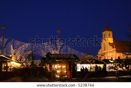 German christmas market at night - stock photo