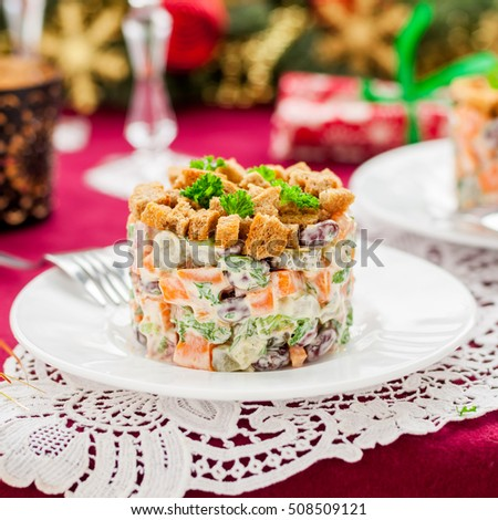 German Christmas Salad with Salami, Beans, Pickles and Rye Croutons, square