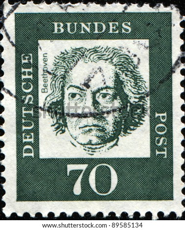 GERMAN-CIRCA 1961: A post stamp printed in Germany shows portrait of Ludwig van Beethoven, Series of Berlin stamps of distinguished German, circa 1961 - stock photo