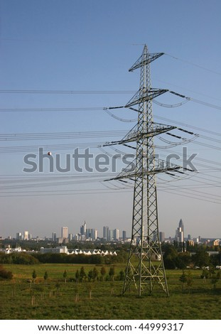German city Frankfurt behind a power line
