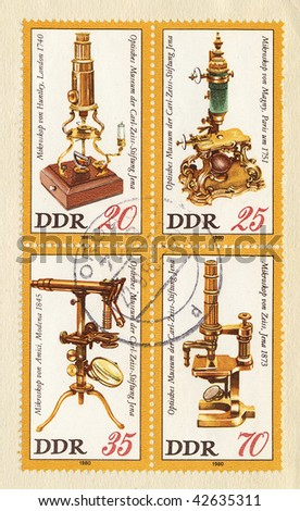 GERMAN DEMOCRATIC REPUBLIC - CIRCA 1980: optical equipment on old canceled postage stamps
