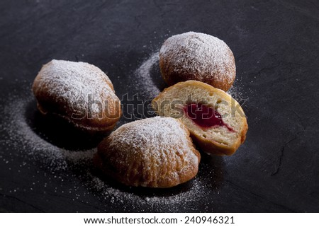 German donuts, Berliner Pfannkuchen - stock photo