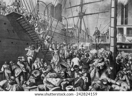 German emigrants for New York embarking on a Hamburg steamer in 1874. German emigration to the Americas continued throughout the 19th and early 20th century. - stock photo