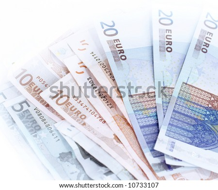 German Euro banknotes on white background