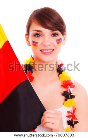 German female soccer fan being happy