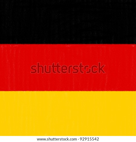 German flag drawing by pastel on charcoal paper - stock photo
