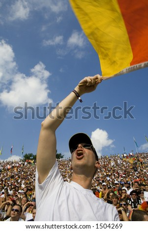 german flag flyer close - stock photo