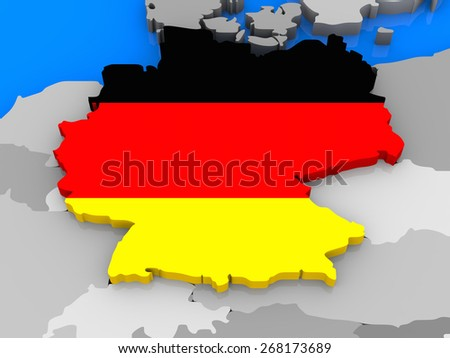 German flag in the shape of the country standing out of the map of Europe, close up - stock photo