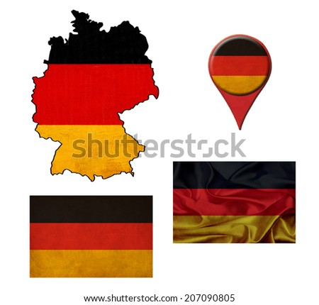 German flag, map and map pointers