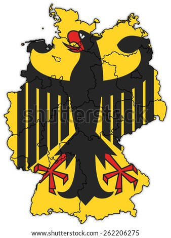 german flag on old administration map of german provinces - stock photo