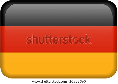 German flag rectangular button.  Part of set of country flags all in 2:3 proportion with accurate design and colors.