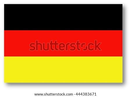 German flag with shadow - Germany - stock photo