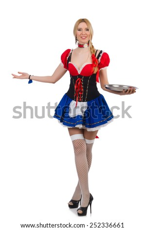 German girl in traditional festival clothing - stock photo