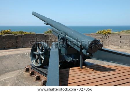 German gun, Jersey,Channel Islands - stock photo