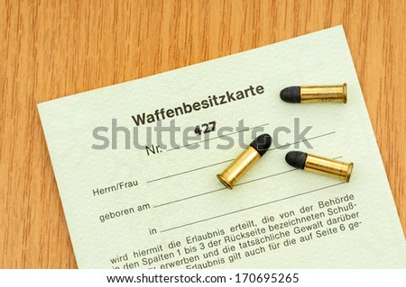 German gun licence with ammunition