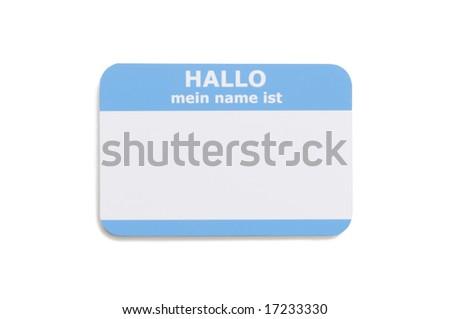 German hello name tag isolated on white background