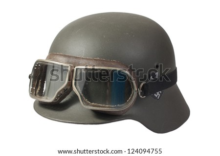 german helmet with protective goggles