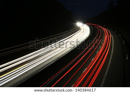 german highway at night