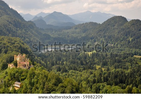 German Hohenschwangau Castle in Bavaria with Forest in Background - stock photo
