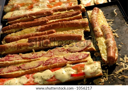 German Hot Dogs and Pizza - stock photo