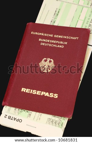 german international travel passport incl. clipping path, isolated on white, used, high resolution