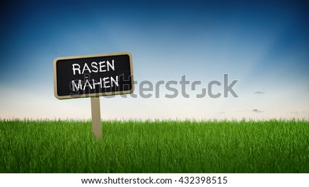 German language lawn mowing text in white chalk on blackboard sign in flowing green turf grass under clear blue sky background. 3d Rendering. - stock photo