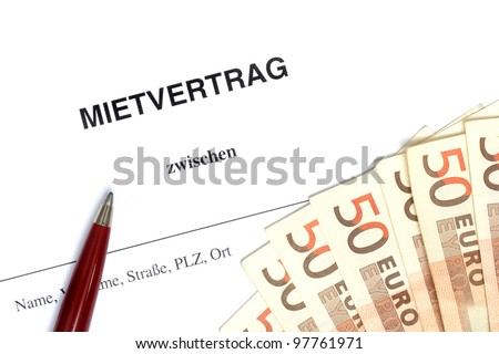 German lease agreement in a studio shot - stock photo
