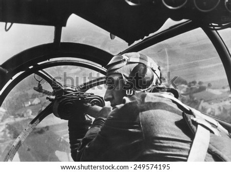 German machine gunner in an airplane during first days of WW2 in Poland. Sept. 16, 1939. - stock photo