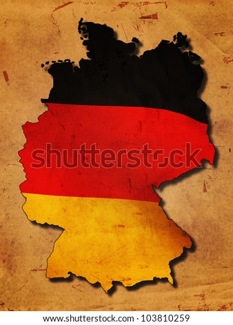 German map with flag over old paper - stock photo