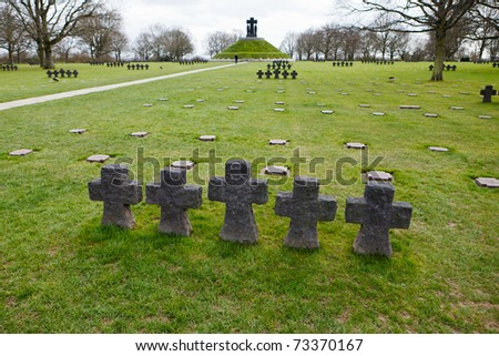 German Military Cemetery and Memorial at La Cambe, Normandy, France. Over 11.000 German fallen soldiers of World War 2 are buried here. - stock photo