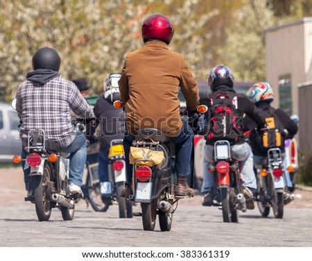 german mopeds on a street - stock photo