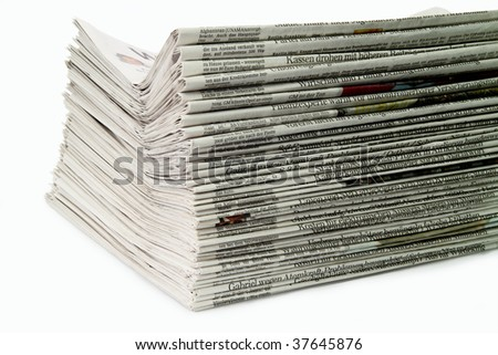German newspaper stack on white background