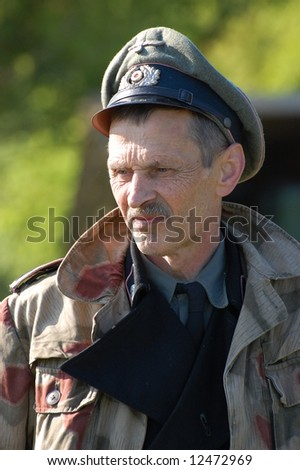 German officer. WW2 reenacting