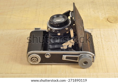 German old camera. The beginning of the 20th century. Open - stock photo