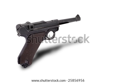 German Parabellum pistol. Official P.08. Name from the Latin: si vis pacem, para bellum, meaning if you want peace, prepare for war.