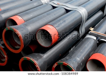 German PE canalization pipes - stock photo