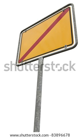 german placement sign with copy space. Isolated on white with clipping path - stock photo