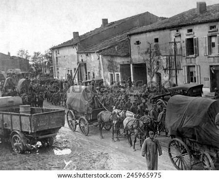 German prisoners taken by the Americans in the first day of the assault on the St. Mihiel salient. They are marching to prison pens at Ansauville, France. WWI. Sept. 25, 1918. - stock photo