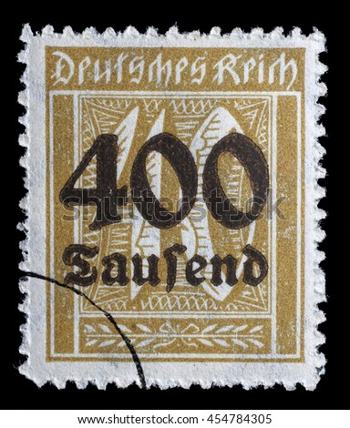 GERMAN REICH - CIRCA 1923: A postage stamp printed in Germany shows numeric value, circa 1923. - stock photo