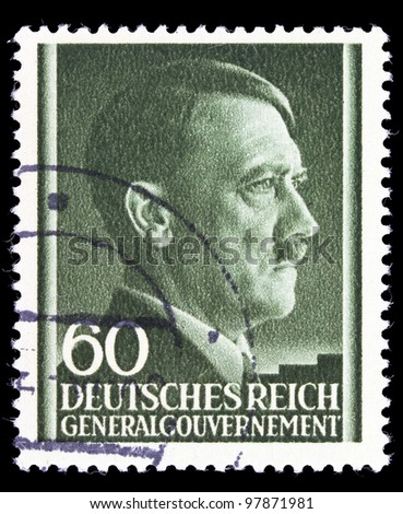 GERMAN REICH - CIRCA 1943: A stamp printed in Germany shows image of Adolf Hitler, circa, 1943 - stock photo