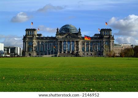 german reichstag (parliament) in berlin - stock photo