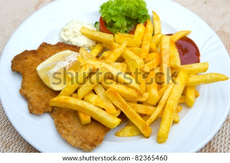 german Schnitzel with fries