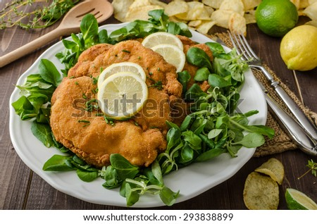 German schnitzel with homemade fries, lemons and limes, tomatoes and lamb's lettuce salad - stock photo
